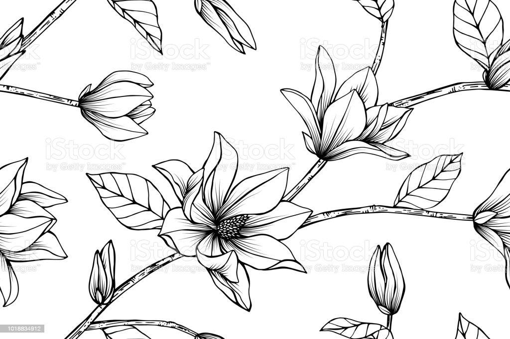 Vetores De Sem Costura Magnolia Flor De Fundo Preto E Branco