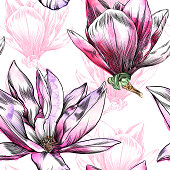 Seamless Magnolia Flower Pattern with Watercolor and Pen and Ink Elements
