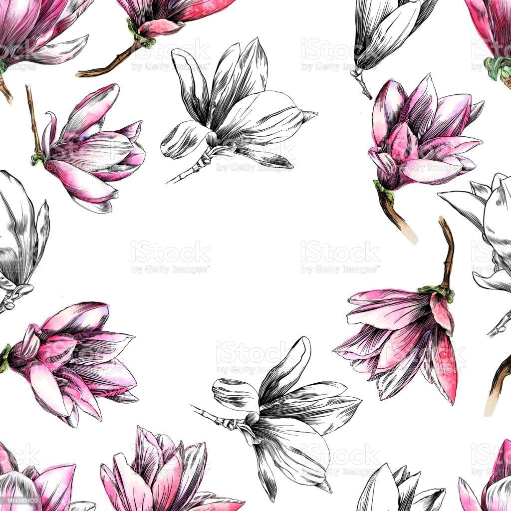 Naadloze Magnolia bloemenpatroon met aquarel en Pen en inkt elementen - Royalty-free Abstract vectorkunst