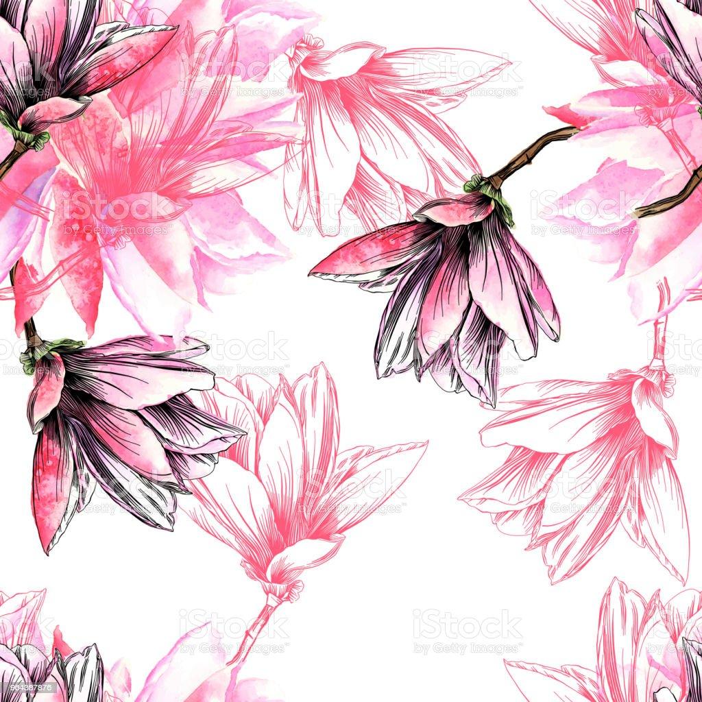 Teste padrão de flor de magnólia sem costura com aquarela e caneta e tinta elementos - Vetor de Abstrato royalty-free