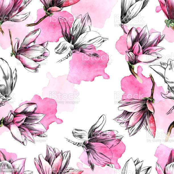 Seamless magnolia flower pattern with watercolor and pen and ink vector id964392216?b=1&k=6&m=964392216&s=612x612&h=hwr rextyco4mifb7ptr3ww63jqjaejctyhqnlc1fes=