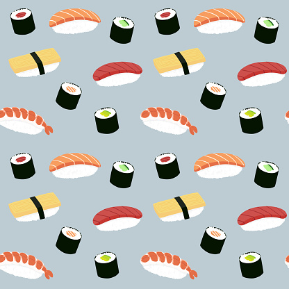 Seamless maki and nigiri sushi illustration pattern, blue background