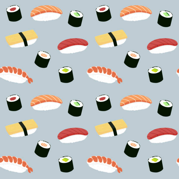 Seamless maki and nigiri sushi illustration pattern, blue background vector art illustration