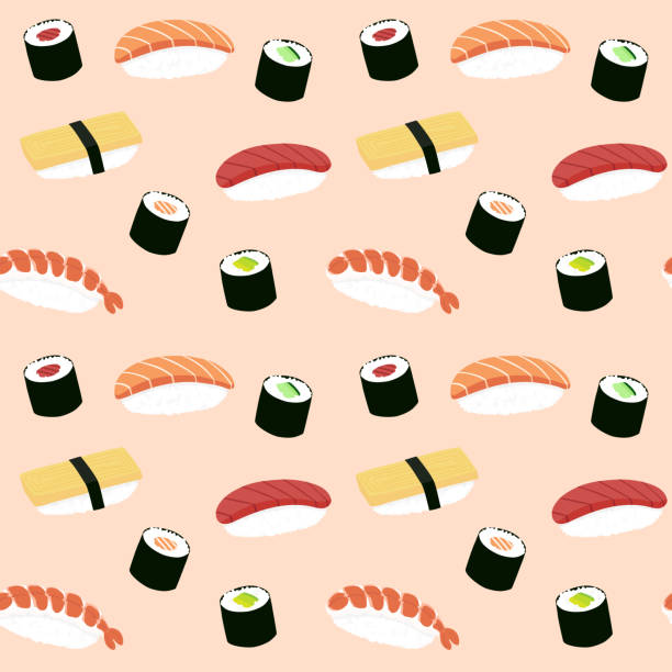 Seamless maki and nigiri sushi illustration pattern, pink background vector art illustration