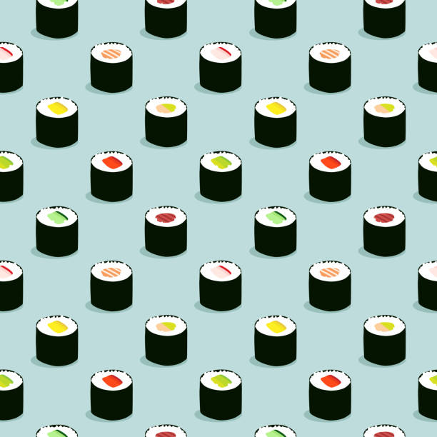 Seamless maki sushi illustration pattern, blue background vector art illustration