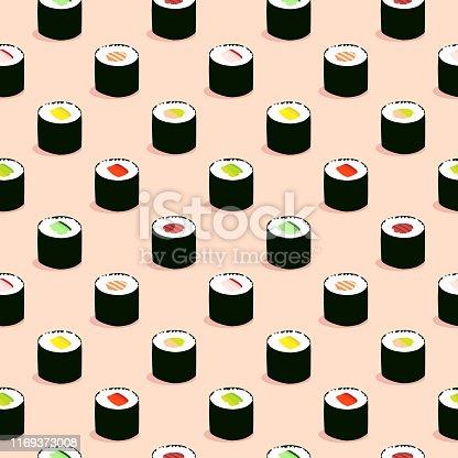 Seamless maki sushi illustration pattern, pink background