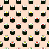 Seamless maki sushi illustration pattern, pink background
