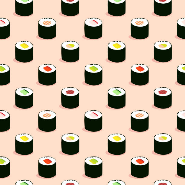 Seamless maki sushi illustration pattern, pink background vector art illustration