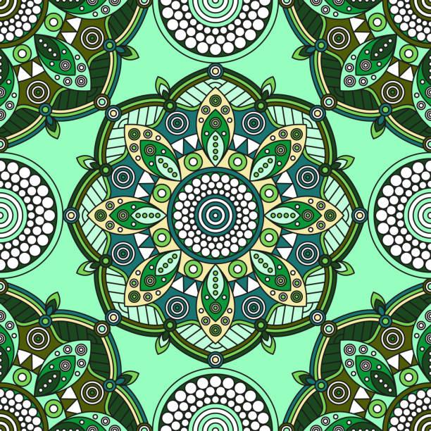 nahtlose mandala medaillon muster in grün, weiß und gelb. - pashminas stock-grafiken, -clipart, -cartoons und -symbole