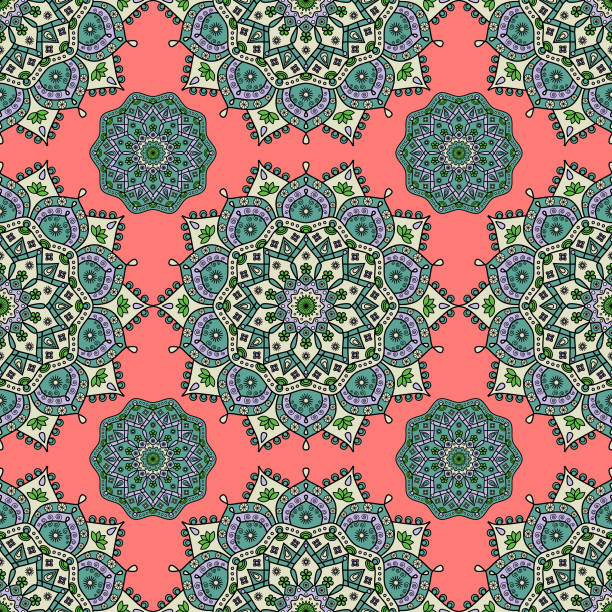 nahtlose mandala medaillon muster in rot, grün, gelb und violett lavendel. - pashminas stock-grafiken, -clipart, -cartoons und -symbole