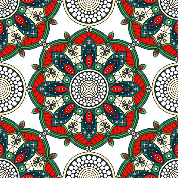 nahtlose mandala-muster in weihnachtsfarben rot, grün und weiß. - pashminas stock-grafiken, -clipart, -cartoons und -symbole