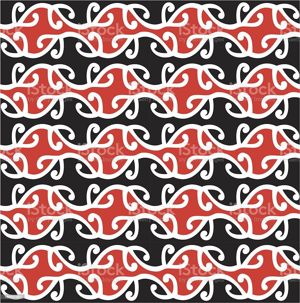 Seamless Maori Kowhaiwhai Design royalty-free stock vector art