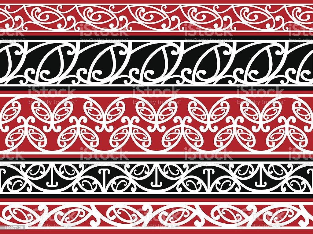 Seamless Maori Kowhaiwhai Patterns stock vector art