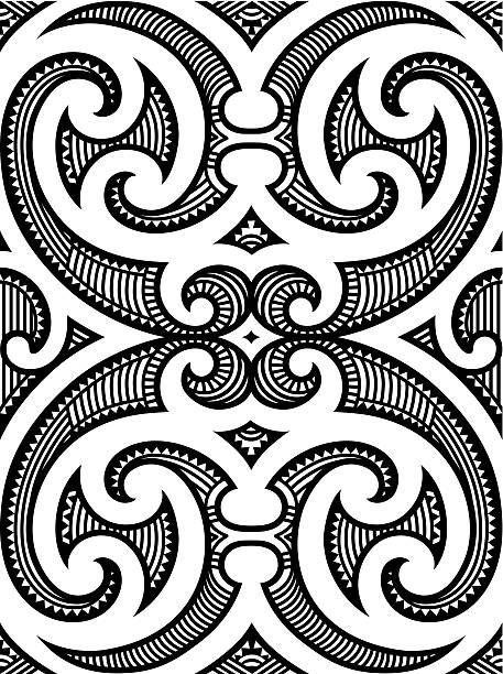 nahtlose maori-tattoo-design - maori tattoos stock-grafiken, -clipart, -cartoons und -symbole