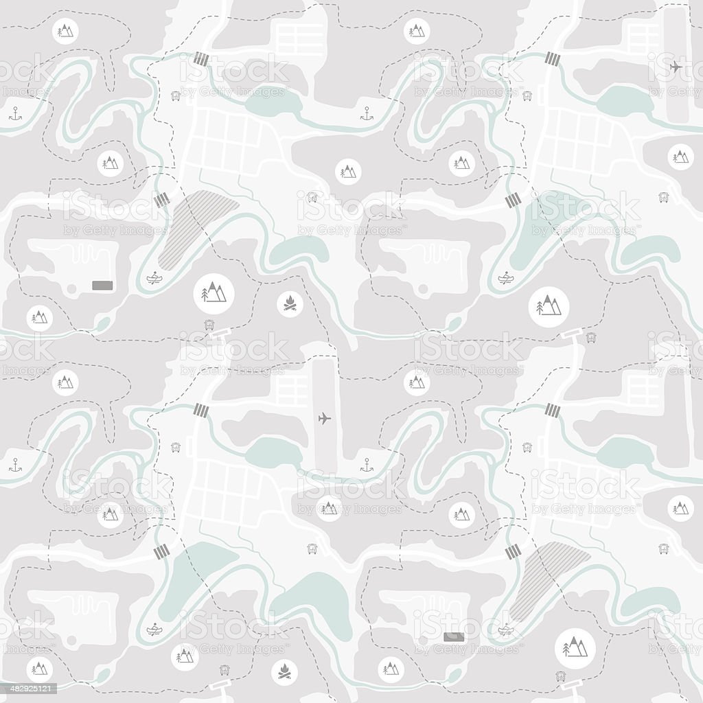 Seamless map pattern vector art illustration