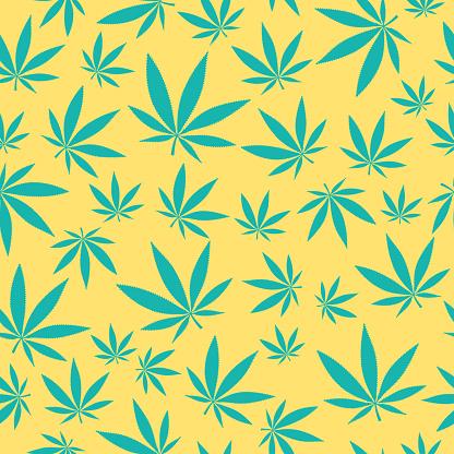 Seamless Marijuana Cannabis Leaf Background Pattern