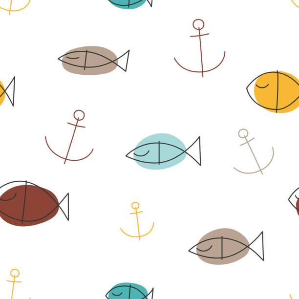 ilustrações de stock, clip art, desenhos animados e ícones de seamless marine pattern with fish and anchors. - mediterranean food