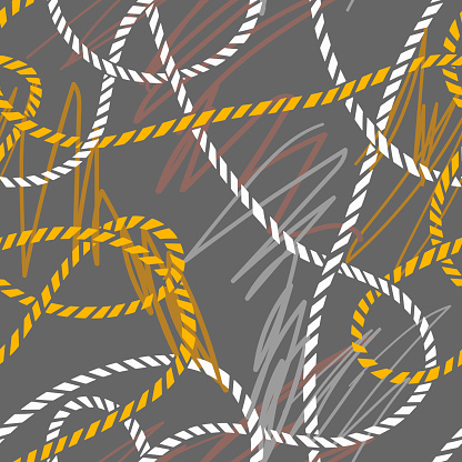 Seamless marine rope knot pattern. Abstract lines drawing texture