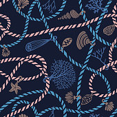 Seamless marine rope knot pattern mixed with Jewelry made of seashells, corals, algae and starfish