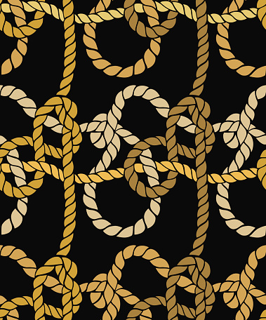 Seamless marine rope knot pattern. Twisted rope background.