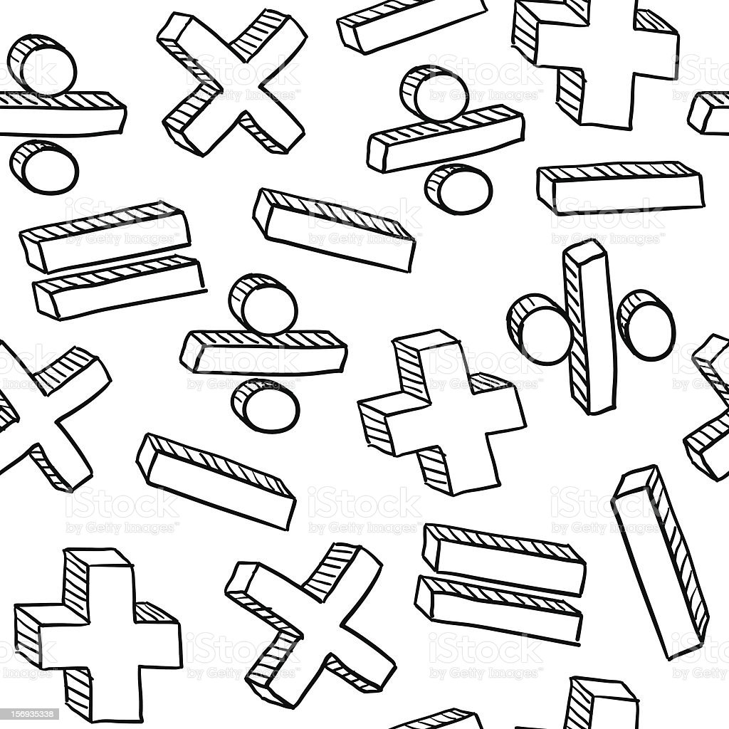 Seamless Mathematical Symbols Pattern Repeated Math Stock Vector ...