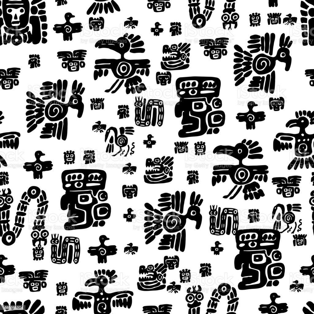 Patrón transparente maya. Elementos étnicos de blanco y negro - ilustración de arte vectorial