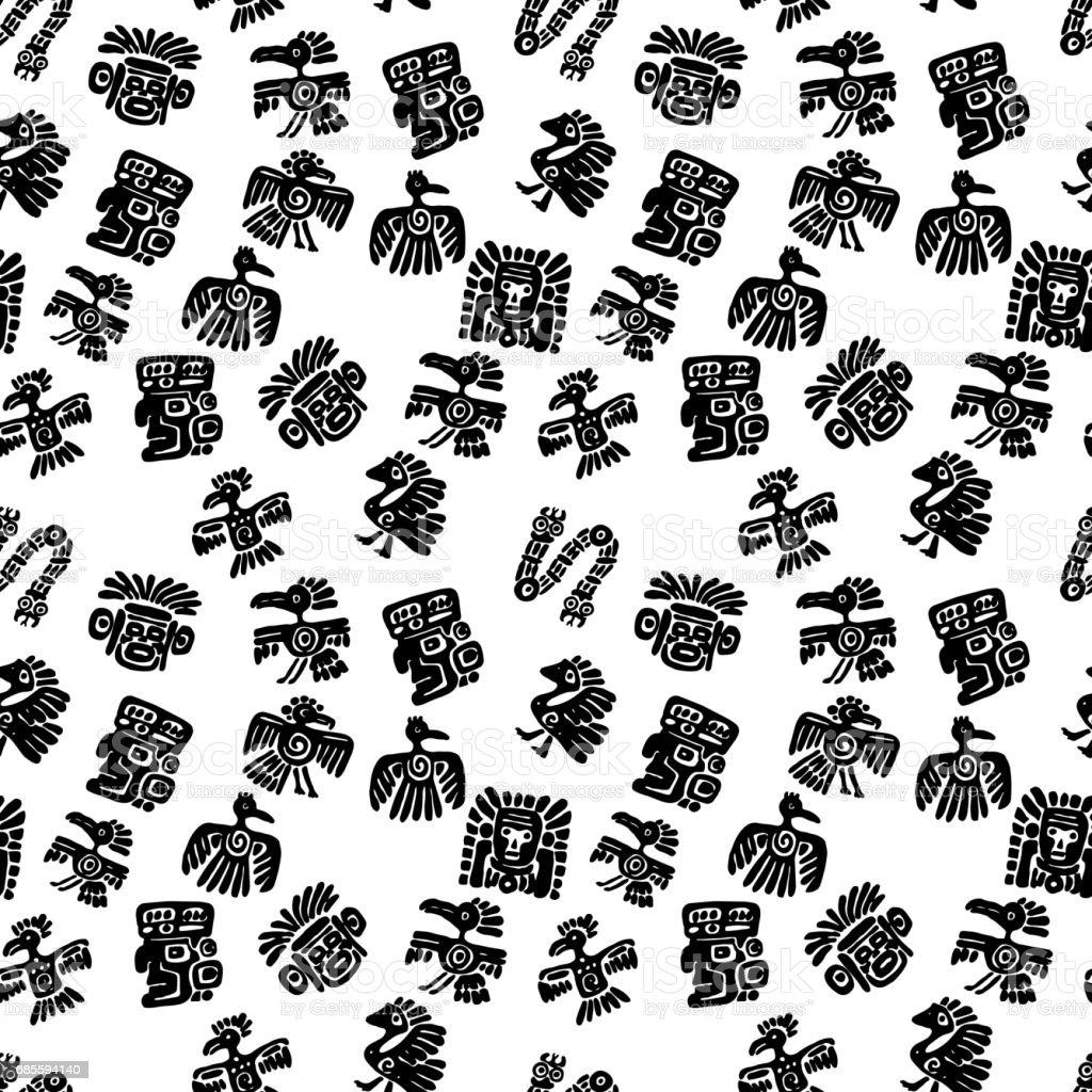원활한 마 야 패턴입니다. 흑인과 백인 소수 민족 요소 royalty-free 원활한 마 야 패턴입니다 흑인과 백인 소수 민족 요소 0명에 대한 스톡 벡터 아트 및 기타 이미지