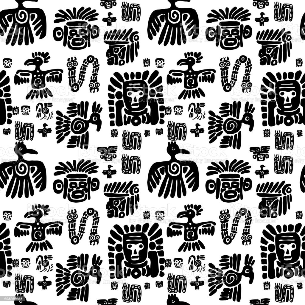 Seamless maya pattern. Black and white ethnic elements vector art illustration