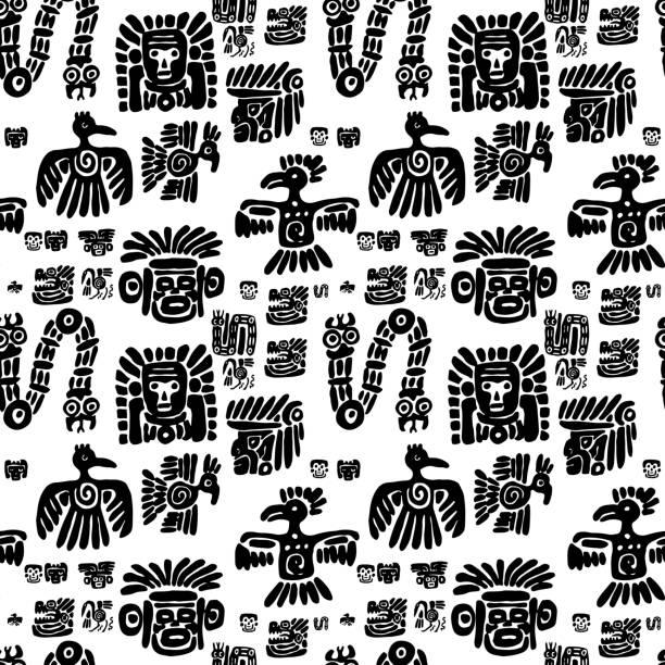 seamless maya pattern. black and white ethnic elements - birds calendar stock illustrations, clip art, cartoons, & icons