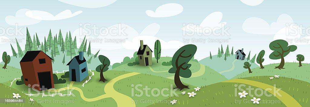 Seamless Meadow Scene - Summer royalty-free stock vector art