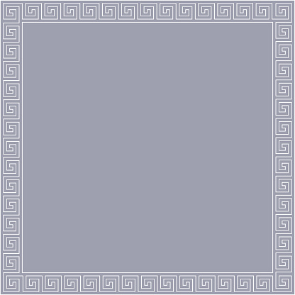 Seamless Meander Pattern Frame In Gray And White Color, Greek Key Pattern Background