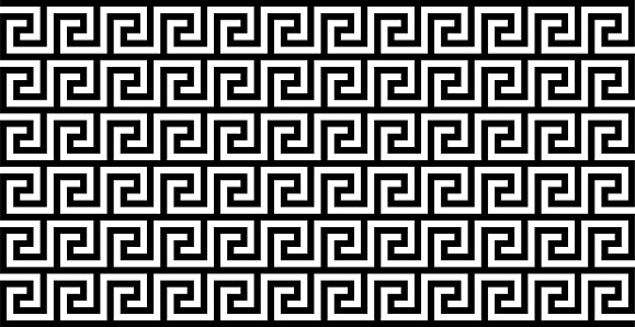 Seamless Meander Pattern In Black And White Color, Greek Key Pattern Background