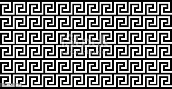 istock Seamless Meander Pattern In Black And White Color, Greek Key Pattern Background 1249262460