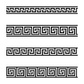 Seamless meander patterns on white background