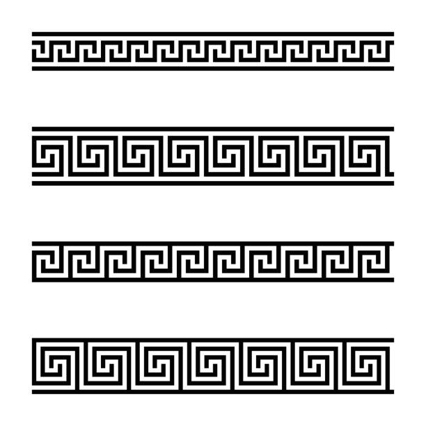 Seamless meander patterns on white background vector art illustration