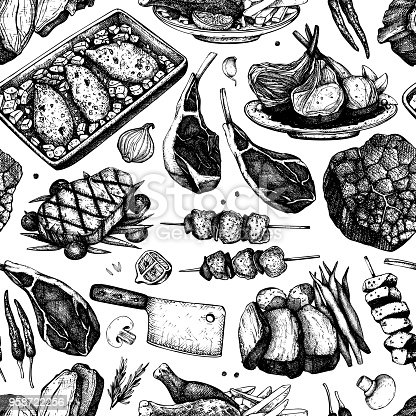 Vector backgorund with hand drawn food illustrations. Restaurant menu design. Meat products collection. Vintage seamless pattern.