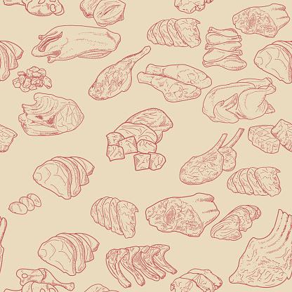 Seamless meat set pattern