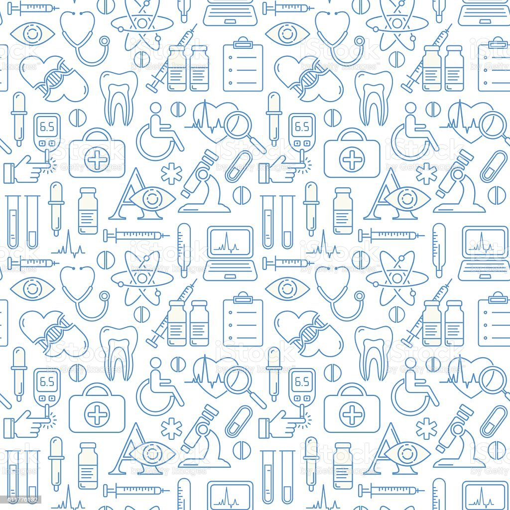 Seamless medical background with line style icons stock vector art seamless medical background with line style icons royalty free seamless medical background with line stopboris Images