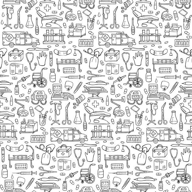 Seamless medical  hand drawn doodle pattern Vector  illustration for backgrounds, textile prints, covers, wrapping hospital background stock illustrations