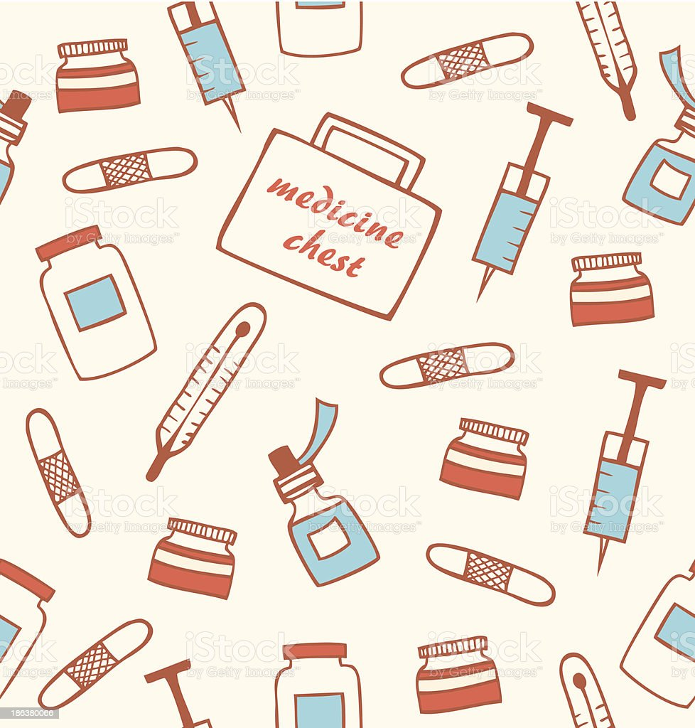 Seamless medical pattern. Hospital instrument. Healthy royalty-free stock vector art