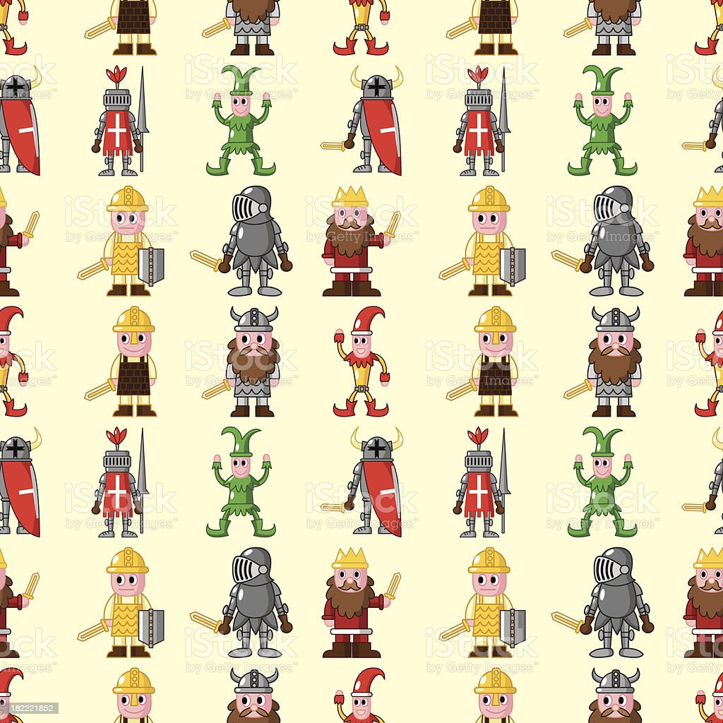 seamless medieval people pattern royalty-free stock vector art