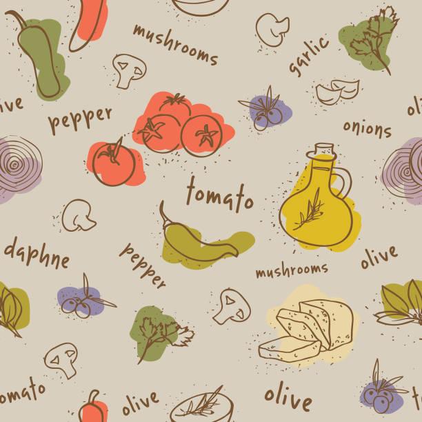 ilustrações de stock, clip art, desenhos animados e ícones de comida mediterrânica sem costura padrão - mediterranean food