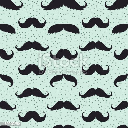 istock Seamless Men's Moustache Pattern Illustration on Blue Background 165900250
