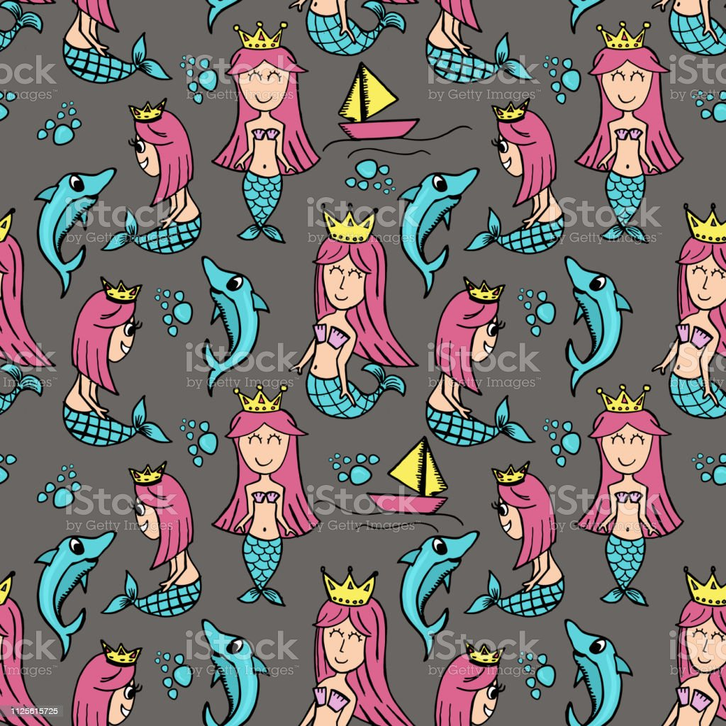 Seamless mermaid drawing with dolphin children style. Hand drawn happy pattern for children, baby, and kids textile and print.