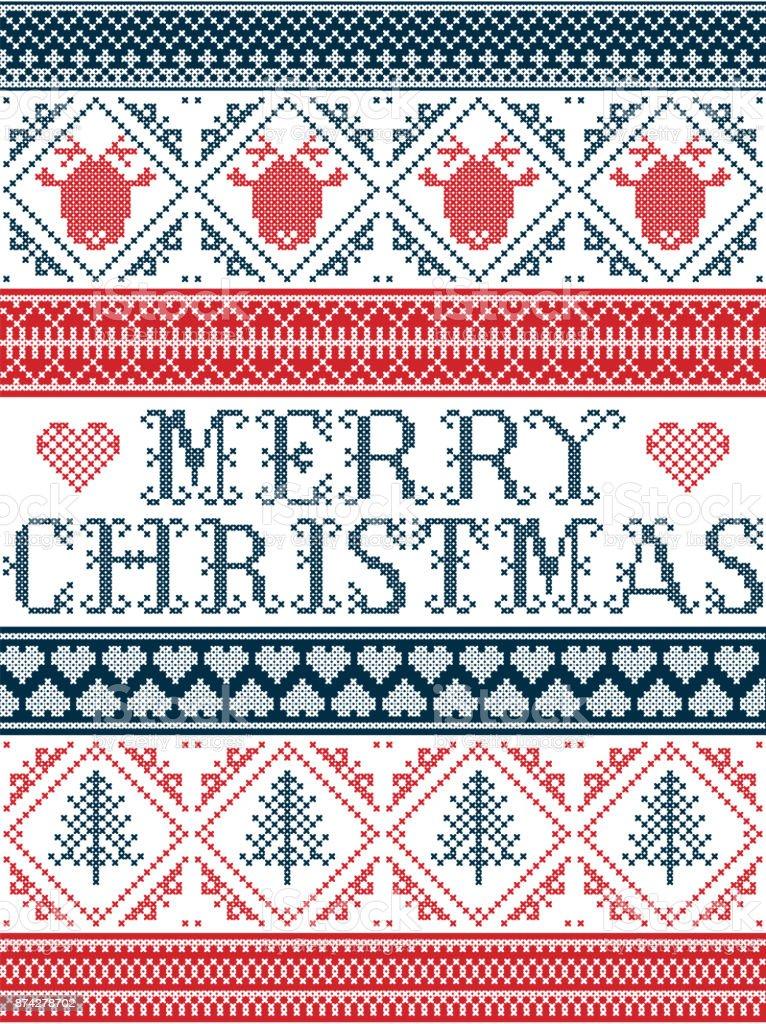 Frohe Weihnachten Norwegisch.Nahtlose Frohe Weihnachten Skandinavischen Stoff Stil Inspiriert Von