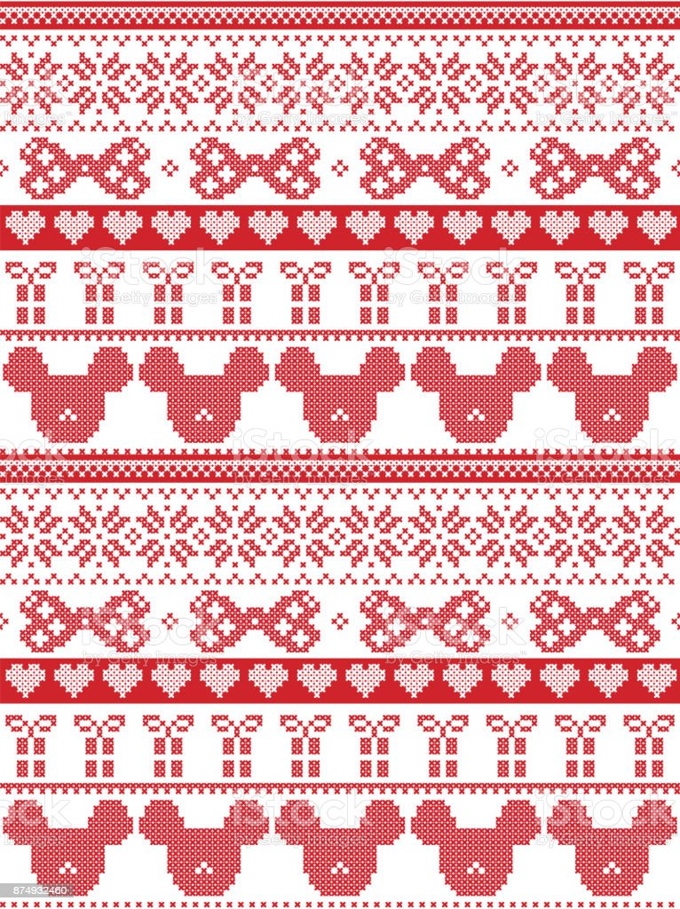 Merry Christmas In Norwegian.Seamless Merry Christmas Scandinavian Fabric Style Inspired