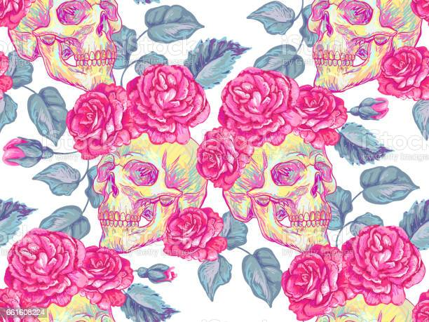 Seamless mexican pattern with skulls and roses rose floral summer vector id661608224?b=1&k=6&m=661608224&s=612x612&h=l93gubh2q mft4pmmletp1lwg6oub6ih yt88wvnir8=