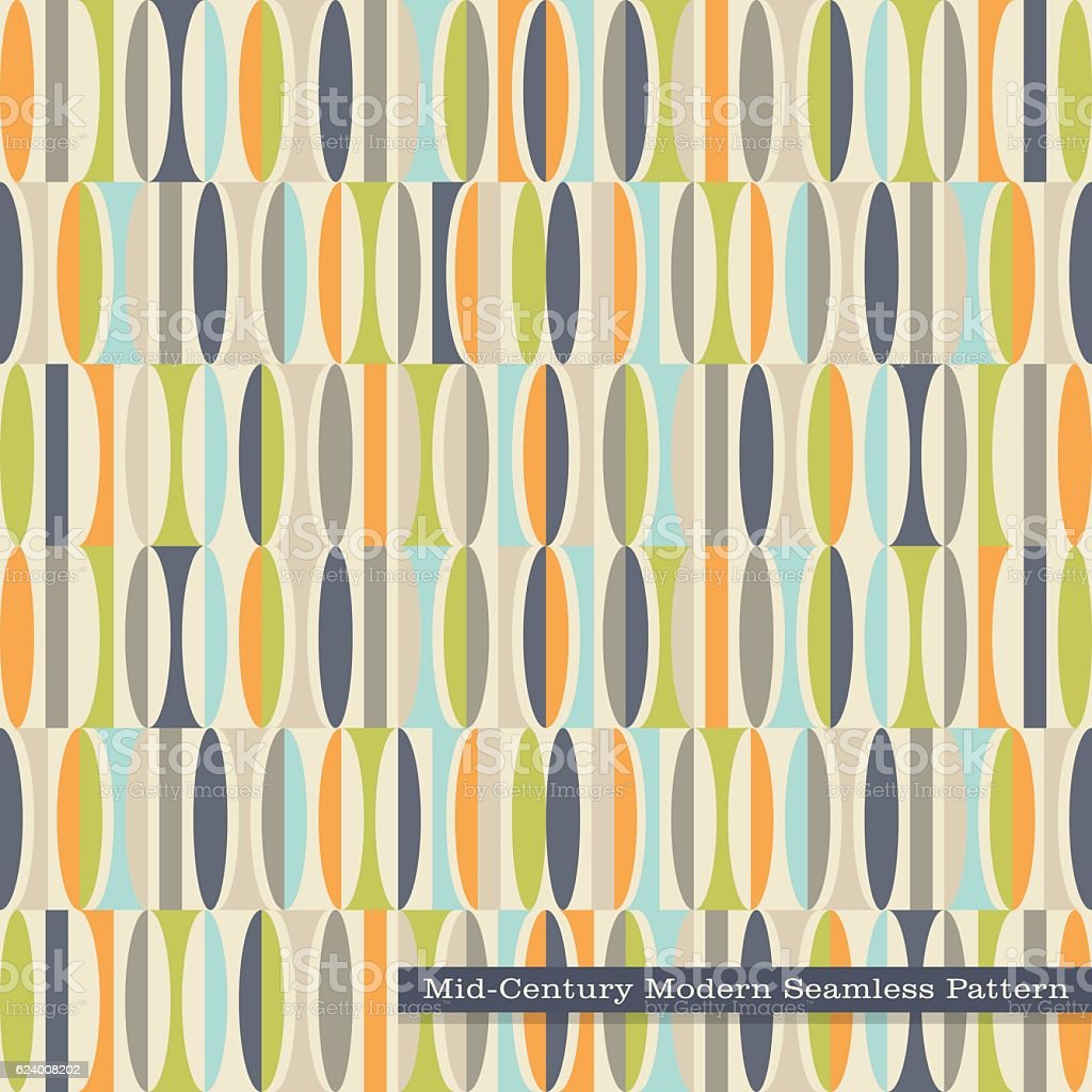 Seamless Mid Century Modern Pattern Abstract Ovals In Vintage Colors