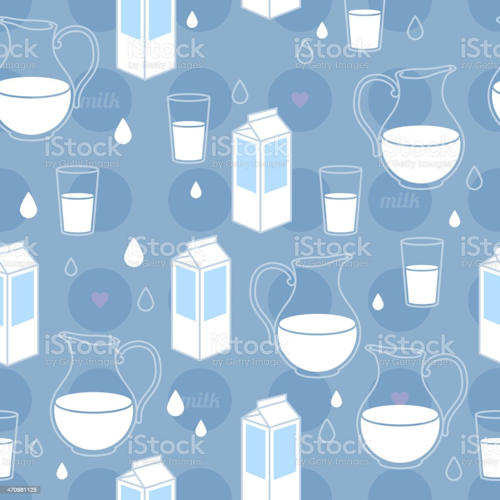 Seamless milk theme pattern. Box, glass and jar. Blue color. royalty-free seamless milk theme pattern box glass and jar blue color stock vector art & more images of backgrounds