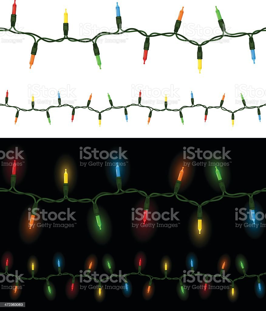 Seamless Mini Christmas Lights vector art illustration
